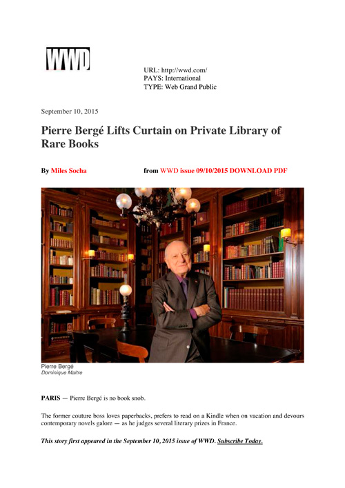 WWD – Pierre Bergé Lifts Curtain on Private Library of Rare Books