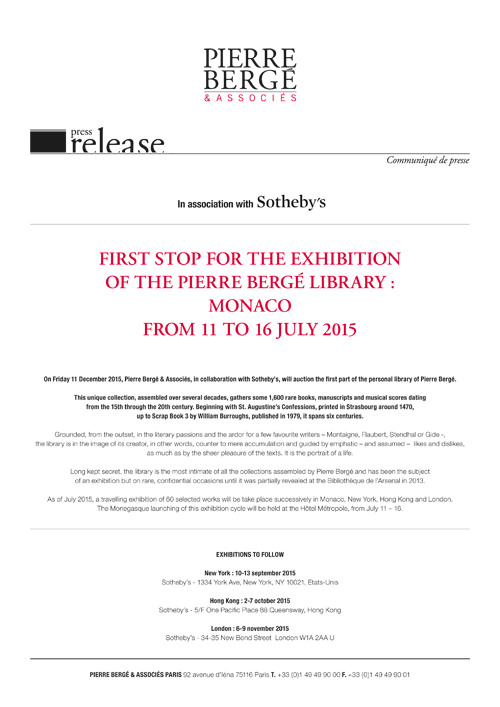 First stop for the exhibition of the Pierre Bergé library : Monaco from 11 to 16 July 2015