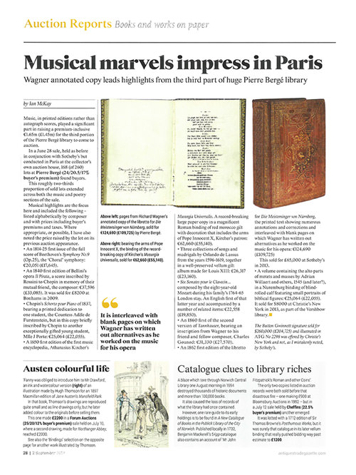 ANTIQUES TRADE GAZETTE – Musical marvels impress in Paris
